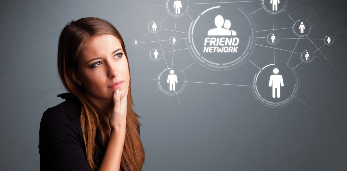 Attractive girl looking at modern social network